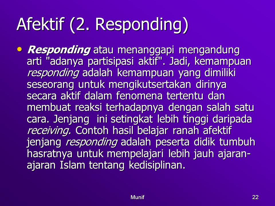 Munif22 Afektif (2. Responding) Responding atau menanggapi mengandung arti