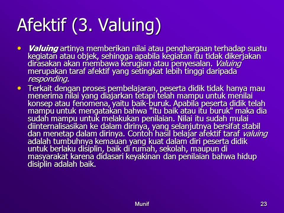 Munif23 Afektif (3. Valuing) Valuing artinya memberikan nilai atau penghargaan terhadap suatu kegiatan atau objek, sehingga apabila kegiatan itu tidak