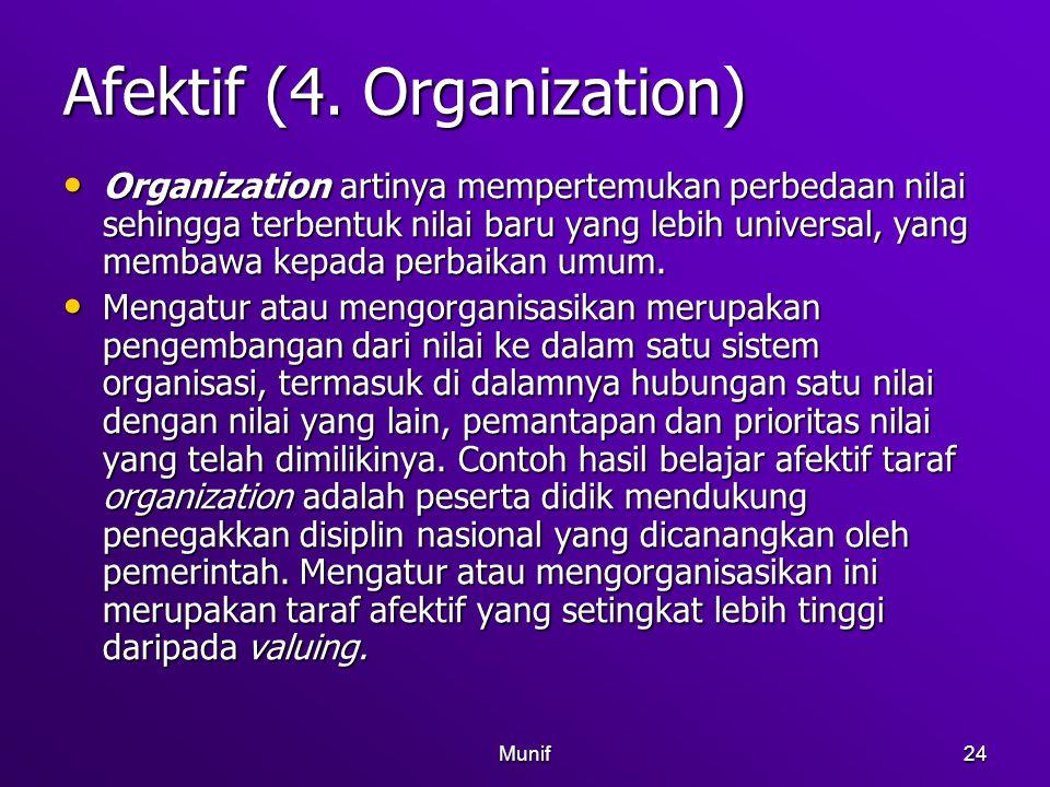 Munif24 Afektif (4. Organization) Organization artinya mempertemukan perbedaan nilai sehingga terbentuk nilai baru yang lebih universal, yang membawa