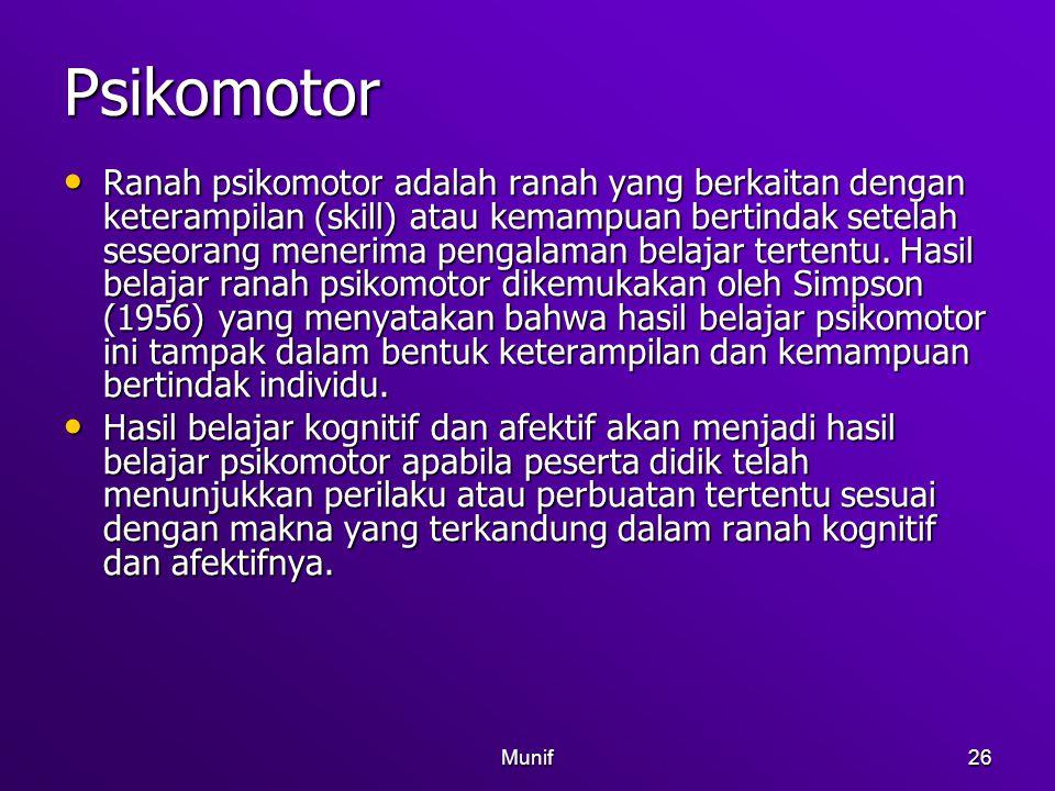 Munif26 Psikomotor Ranah psikomotor adalah ranah yang berkaitan dengan keterampilan (skill) atau kemampuan bertindak setelah seseorang menerima pengal
