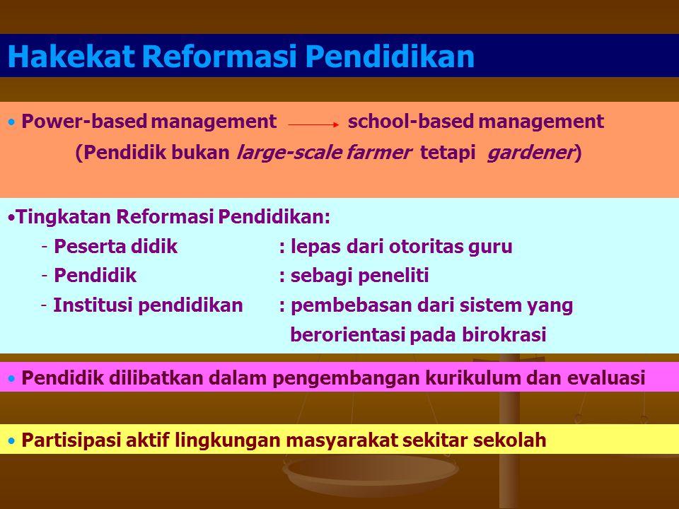 Praktek Pendidikan:  Sistem: sentralistis, birokratis desentralistis, otonom  Praktek: sentralistis, birokratis (sekolah = perusahaan) Budaya birokr