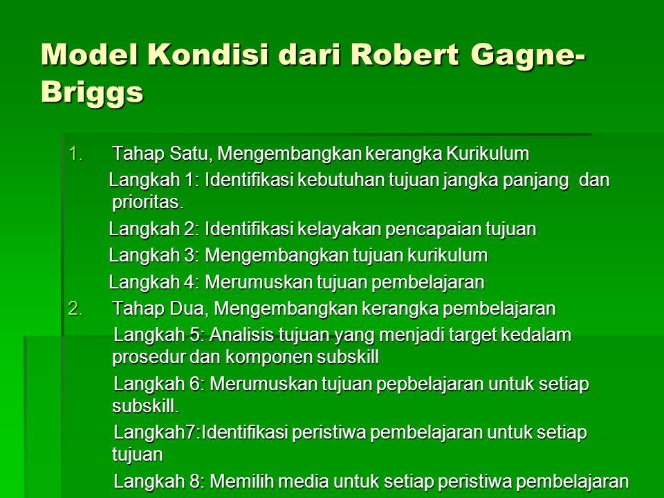 Model Kondisi dari Robert Gagne- Briggs 1.Tahap Satu, Mengembangkan kerangka Kurikulum Langkah 1: Identifikasi kebutuhan tujuan jangka panjang dan pri