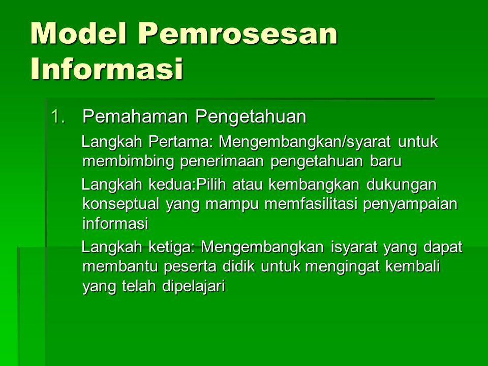 Model Pemrosesan Informasi 1.Pemahaman Pengetahuan Langkah Pertama: Mengembangkan/syarat untuk membimbing penerimaan pengetahuan baru Langkah Pertama: