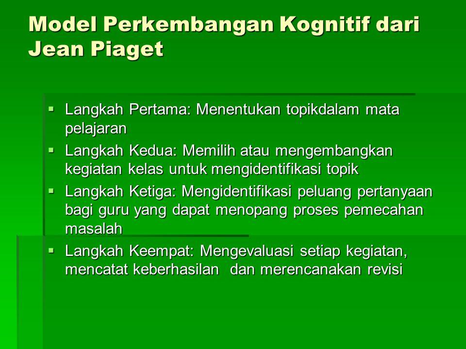 Model Perkembangan Kognitif dari Jean Piaget  Langkah Pertama: Menentukan topikdalam mata pelajaran  Langkah Kedua: Memilih atau mengembangkan kegia