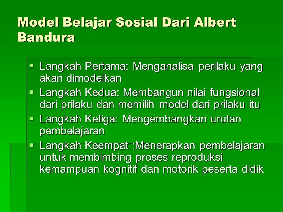 Model Belajar Sosial Dari Albert Bandura  Langkah Pertama: Menganalisa perilaku yang akan dimodelkan  Langkah Kedua: Membangun nilai fungsional dari