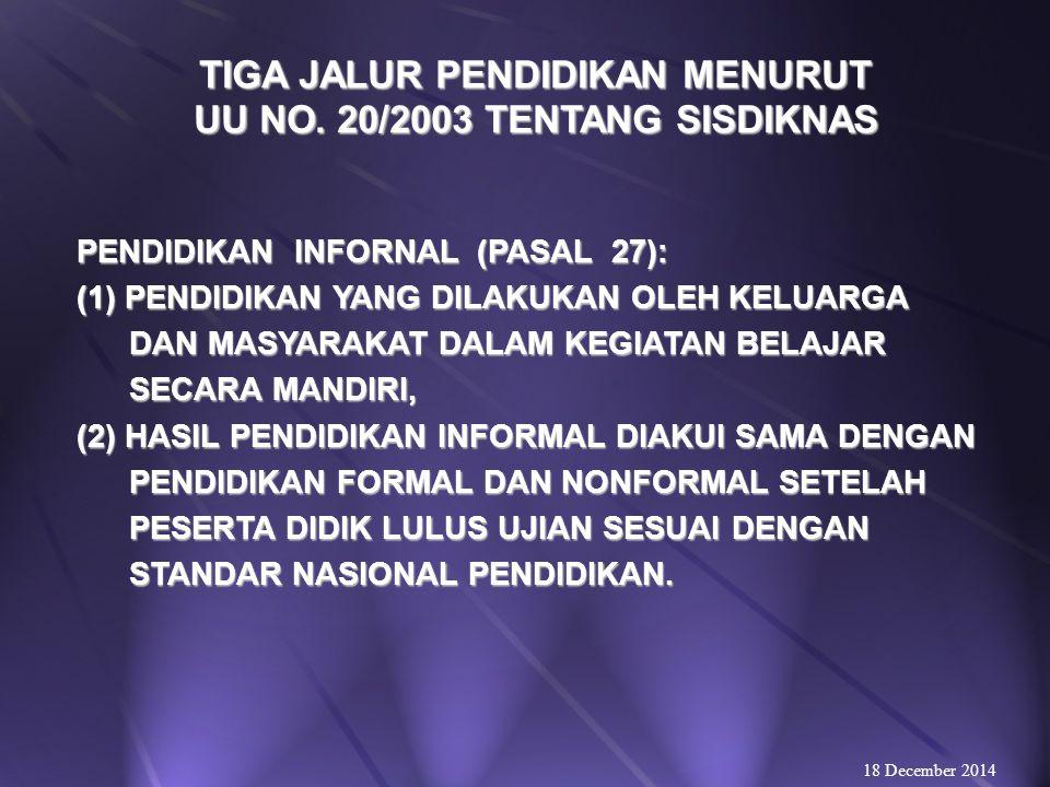 TIGA JALUR PENDIDIKAN MENURUT UU NO. 20/2003 TENTANG SISDIKNAS RAGAM PENDIDIKAN NONFORMAL: 1.