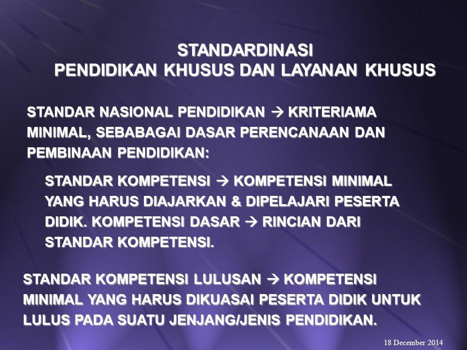 UJIAN NASIONAL & UJIAN SEKOLAH PADA PENDIDIKAN KHUSUS DAN LAYANAN KHUSUS UJIAN NASIONAL DAN UJIAN SEKOLAH PENDIDIK- AN KHUSUS DAN LAUANAN DAPAT MEMILIH: 18 December 2014 UJIAN PENDIDIKAN FORMAL; UJIAN PENDIDIKAN FORMAL; UJIAN PENDIDIKAN KESETARAAN; atau UJIAN PENDIDIKAN KESETARAAN; atau UJIAN PENDIDIKAN LUAR BIASA; UJIAN PENDIDIKAN LUAR BIASA; SESUAI KELEBIHAN DAN KEKHUSUSAN YANG DIMILIKI PESERTA DIDIK