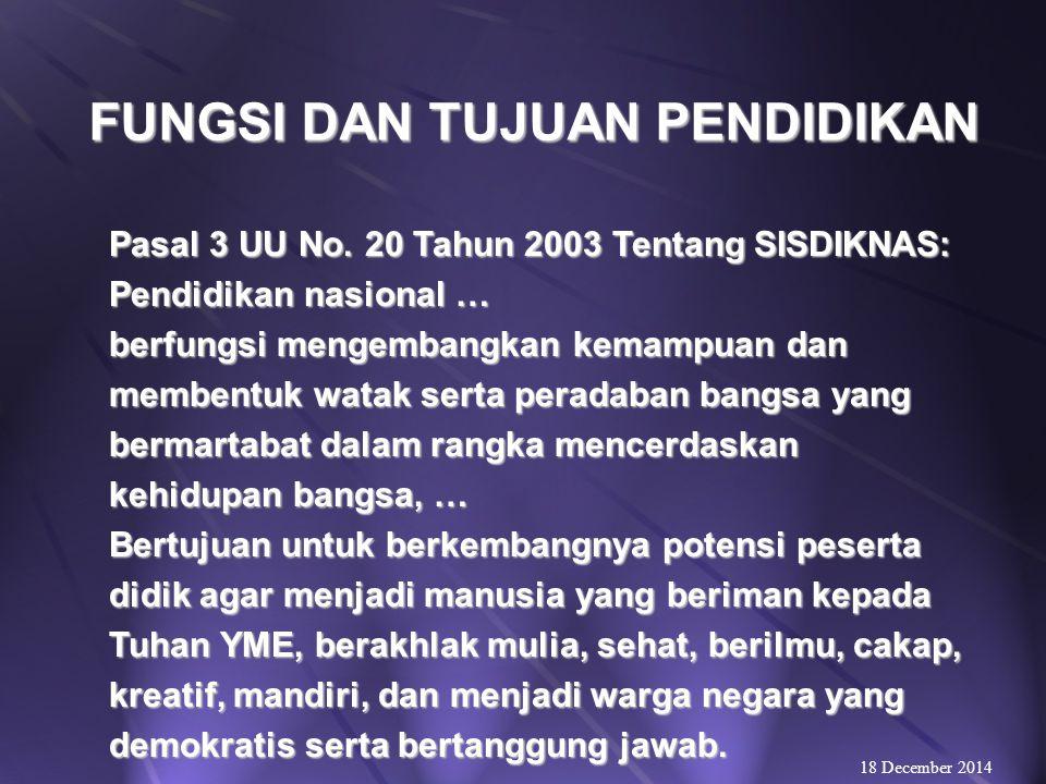 HAKIKAT PENDIDIKAN 18 December 2014 Ki Hajar Dewantara: PENDIDIKAN ADALAH DAYA UPAYA UNTUK MEMAJUKAN BERTUMBUHNYA BUDI PEKERTI (KE- KUATAN BATIN, KARAKTER), PIKIRAN (INTELLECT) DAN TUBUH ANAK.