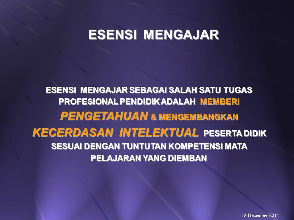 TUGAS PROFESIONAL PENDIDIK  MENGAJAR  KECERDASAN INTELEKTUAL;  MENDIDIK  KECERDASAN INTRA/INTERPERSOAL;  MELATIH  KECERDASAN KINESTETIKA/FISIKAL.