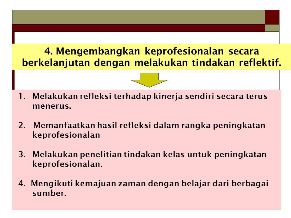 4.Mengembangkan keprofesionalan secara berkelanjutan dengan melakukan tindakan reflektif.