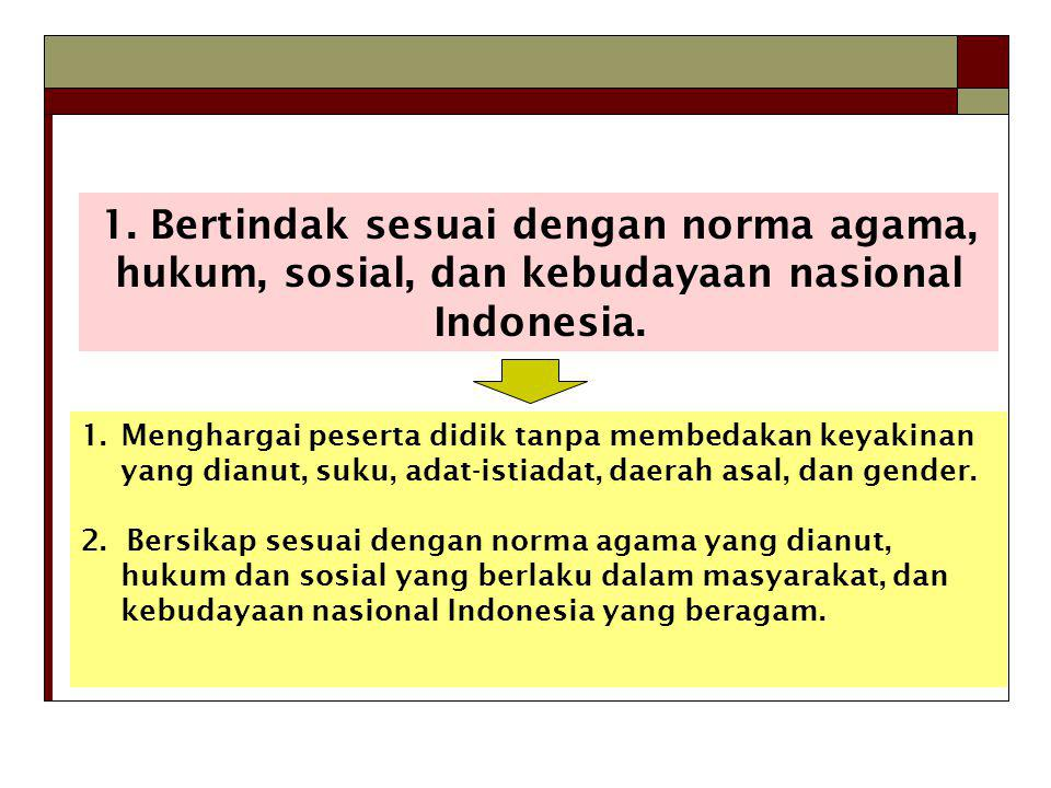 1.Bertindak sesuai dengan norma agama, hukum, sosial, dan kebudayaan nasional Indonesia.