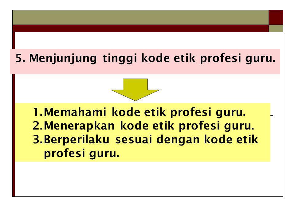 5.Menjunjung tinggi kode etik profesi guru. 1.Memahami kode etik profesi guru.