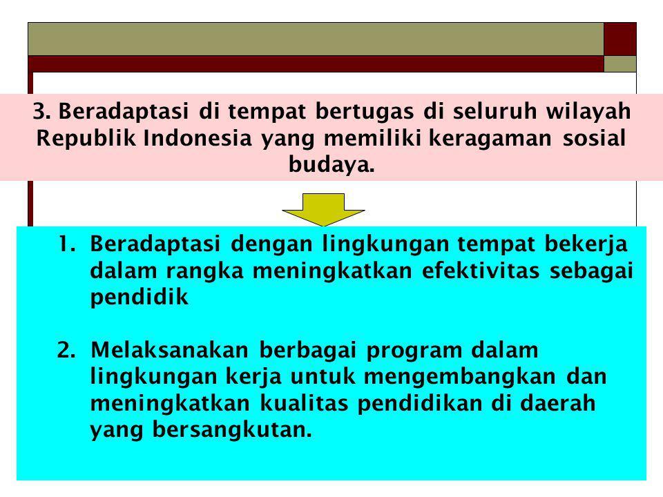 3. Beradaptasi di tempat bertugas di seluruh wilayah Republik Indonesia yang memiliki keragaman sosial budaya. 1.Beradaptasi dengan lingkungan tempat