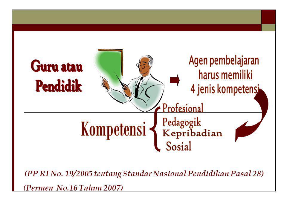 (PP RI No. 19/2005 tentang Standar Nasional Pendidikan Pasal 28) (Permen No.16 Tahun 2007)