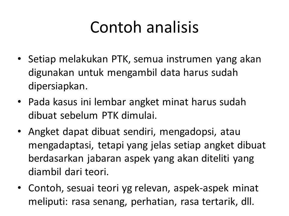 Contoh analisis Setiap melakukan PTK, semua instrumen yang akan digunakan untuk mengambil data harus sudah dipersiapkan. Pada kasus ini lembar angket