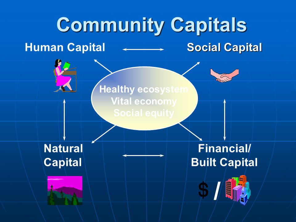 Community Capitals Social Capital Financial/ Built Capital / Human Capital Natural Capital Healthy ecosystem Vital economy Social equity