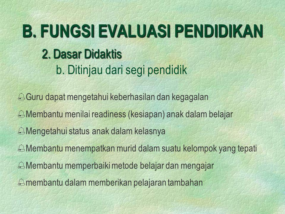 B.FUNGSI EVALUASI PENDIDIKAN 2. Dasar Didaktis B.