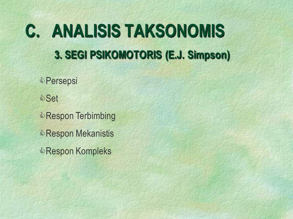 C.ANALISIS TAKSONOMIS 3. SEGI PSIKOMOTORIS (E.J.