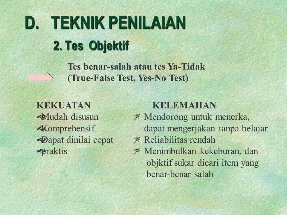 D.TEKNIK PENILAIAN 2.