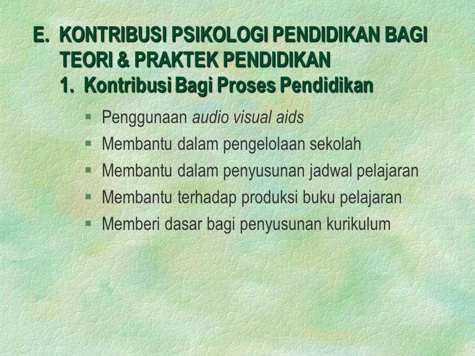 E.KONTRIBUSI PSIKOLOGI PENDIDIKAN BAGI TEORI & PRAKTEK PENDIDIKAN 1.