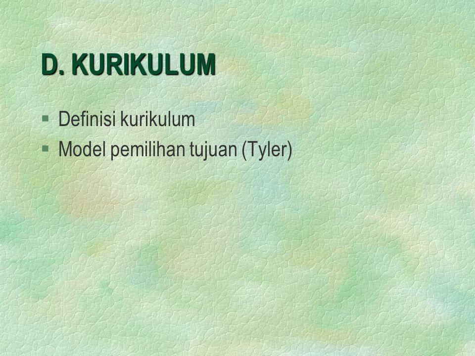 D. KURIKULUM §Definisi kurikulum §Model pemilihan tujuan (Tyler)