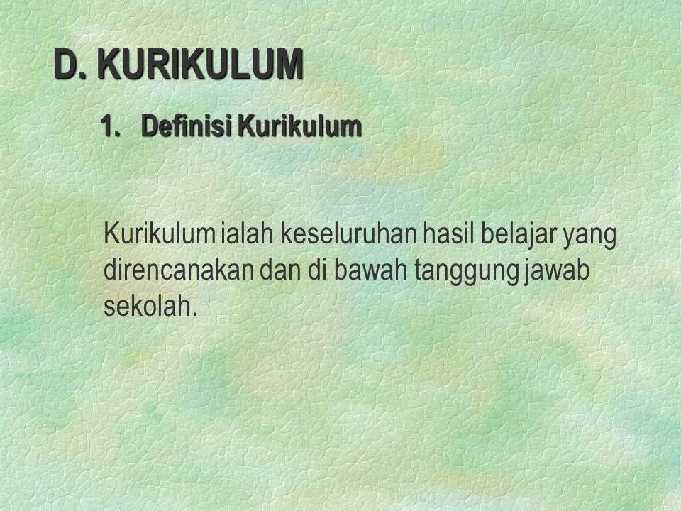 D.KURIKULUM 1. Definisi Kurikulum 1.