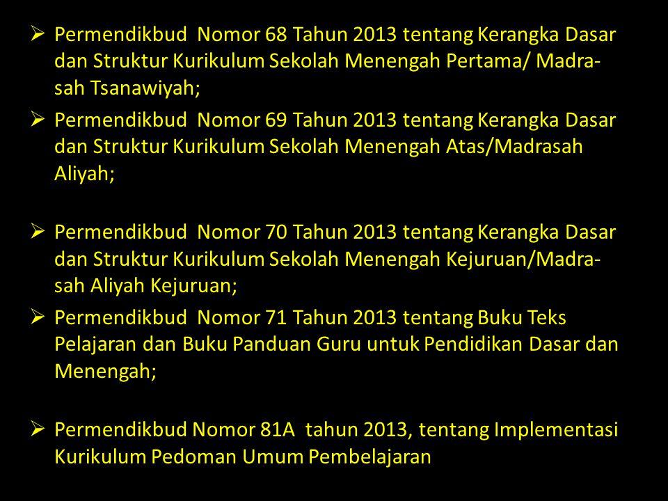  Permendikbud Nomor 68 Tahun 2013 tentang Kerangka Dasar dan Struktur Kurikulum Sekolah Menengah Pertama/ Madra- sah Tsanawiyah;  Permendikbud Nomor