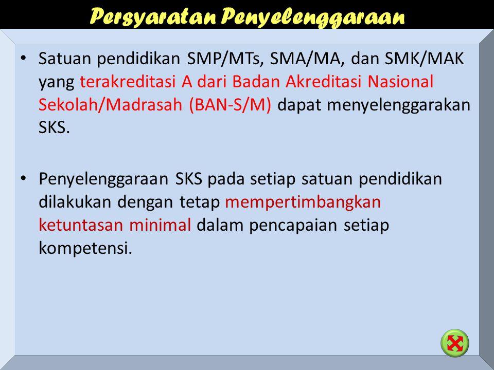 Persyaratan Penyelenggaraan Satuan pendidikan SMP/MTs, SMA/MA, dan SMK/MAK yang terakreditasi A dari Badan Akreditasi Nasional Sekolah/Madrasah (BAN-S