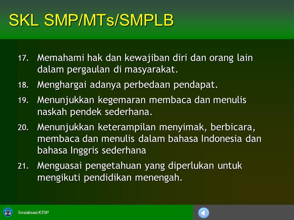 Sosialisasi KTSP SKL SMP/MTs/SMPLB 17.