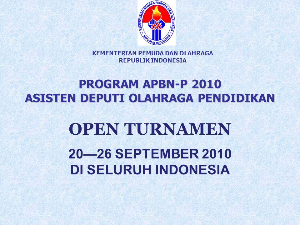 KEMENTERIAN PEMUDA DAN OLAHRAGA REPUBLIK INDONESIA PROGRAM APBN-P 2010 ASISTEN DEPUTI OLAHRAGA PENDIDIKAN OPEN TURNAMEN 20—26 SEPTEMBER 2010 DI SELURU