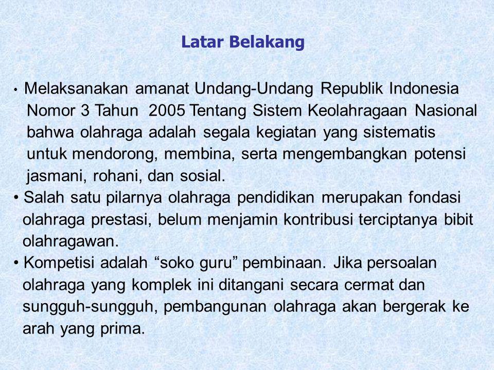 Melaksanakan amanat Undang-Undang Republik Indonesia Nomor 3 Tahun 2005 Tentang Sistem Keolahragaan Nasional bahwa olahraga adalah segala kegiatan yan