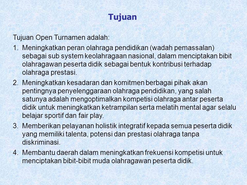 Tujuan Open Turnamen adalah: 1.Meningkatkan peran olahraga pendidikan (wadah pemassalan) sebagai sub system keolahragaan nasional, dalam menciptakan b
