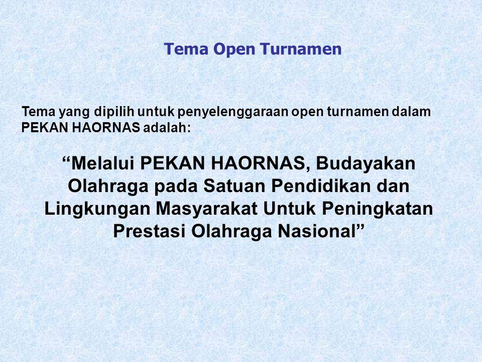 """Tema yang dipilih untuk penyelenggaraan open turnamen dalam PEKAN HAORNAS adalah: """"Melalui PEKAN HAORNAS, Budayakan Olahraga pada Satuan Pendidikan da"""
