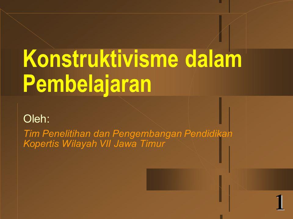 Konstruktivisme dalam Pembelajaran Oleh: Tim Penelitihan dan Pengembangan Pendidikan Kopertis Wilayah VII Jawa Timur