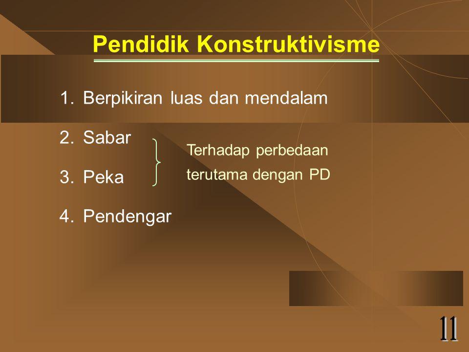 Pendidik Konstruktivisme 1.Berpikiran luas dan mendalam 2.Sabar 3.Peka 4.Pendengar Terhadap perbedaan terutama dengan PD