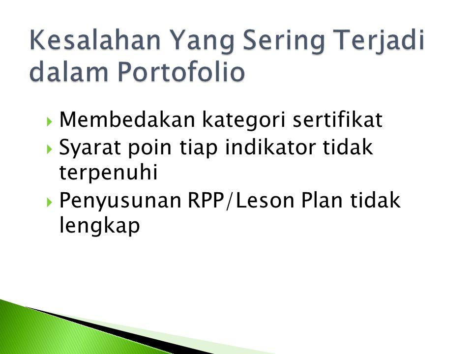  Membedakan kategori sertifikat  Syarat poin tiap indikator tidak terpenuhi  Penyusunan RPP/Leson Plan tidak lengkap