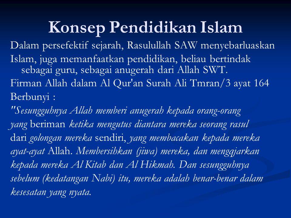 Konsep Pendidikan Islam Dalam persefektif sejarah, Rasulullah SAW menyebarluaskan Islam, juga memanfaatkan pendidikan, beliau bertindak sebagai guru, sebagai anugerah dari Allah SWT.