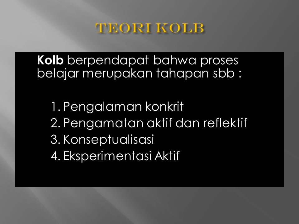 Kolb berpendapat bahwa proses belajar merupakan tahapan sbb : 1.Pengalaman konkrit 2.Pengamatan aktif dan reflektif 3.Konseptualisasi 4.Eksperimentasi