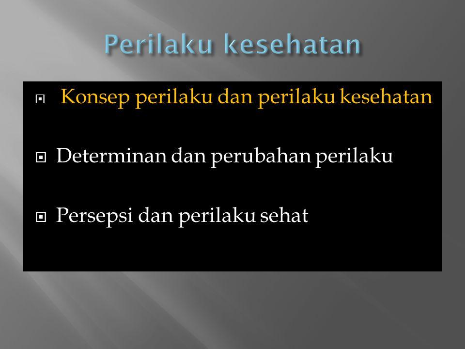  Konsep perilaku dan perilaku kesehatan  Determinan dan perubahan perilaku  Persepsi dan perilaku sehat