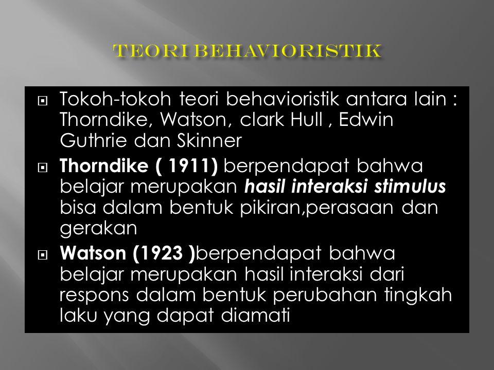  Tokoh-tokoh teori behavioristik antara lain : Thorndike, Watson, clark Hull, Edwin Guthrie dan Skinner  Thorndike ( 1911) berpendapat bahwa belajar merupakan hasil interaksi stimulus bisa dalam bentuk pikiran,perasaan dan gerakan  Watson (1923 ) berpendapat bahwa belajar merupakan hasil interaksi dari respons dalam bentuk perubahan tingkah laku yang dapat diamati