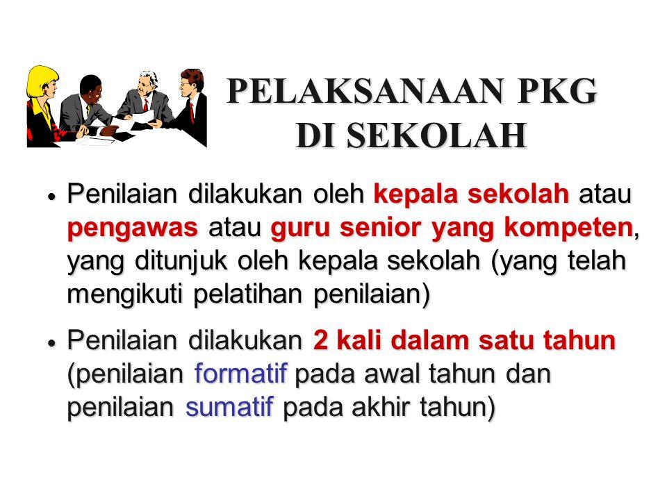 PELAKSANAAN PKG DI SEKOLAH Penilaian dilakukan oleh kepala sekolah atau pengawas atau guru senior yang kompeten, yang ditunjuk oleh kepala sekolah (ya