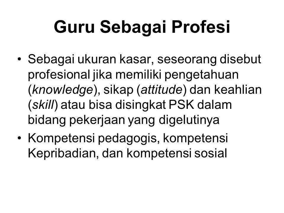 Guru Sebagai Profesi Sebagai ukuran kasar, seseorang disebut profesional jika memiliki pengetahuan (knowledge), sikap (attitude) dan keahlian (skill) atau bisa disingkat PSK dalam bidang pekerjaan yang digelutinya Kompetensi pedagogis, kompetensi Kepribadian, dan kompetensi sosial