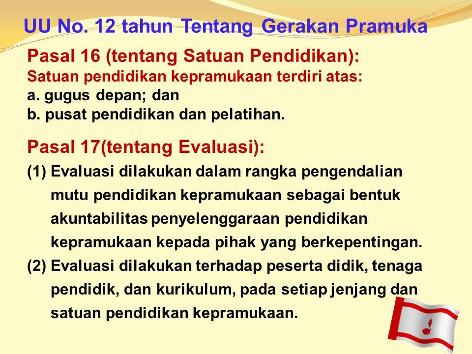 Pasal 16 (tentang Satuan Pendidikan): Satuan pendidikan kepramukaan terdiri atas: a. gugus depan; dan b. pusat pendidikan dan pelatihan. Pasal 17(tent