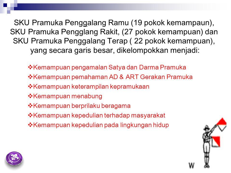 SKU Pramuka Penggalang Ramu (19 pokok kemampaun), SKU Pramuka Pengglang Rakit, (27 pokok kemampuan) dan SKU Pramuka Penggalang Terap ( 22 pokok kemamp