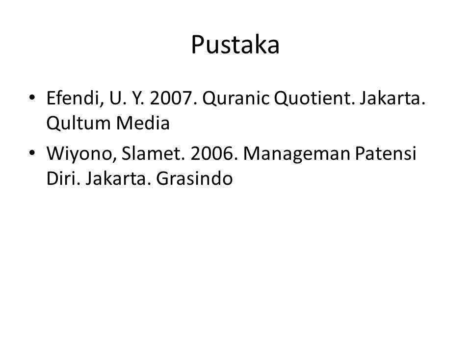 Pustaka Efendi, U. Y. 2007. Quranic Quotient. Jakarta. Qultum Media Wiyono, Slamet. 2006. Manageman Patensi Diri. Jakarta. Grasindo