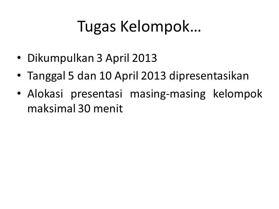 Tugas Kelompok… Dikumpulkan 3 April 2013 Tanggal 5 dan 10 April 2013 dipresentasikan Alokasi presentasi masing-masing kelompok maksimal 30 menit