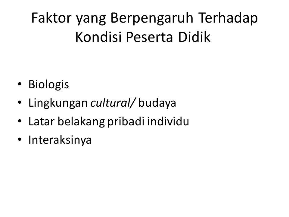 Faktor yang Berpengaruh Terhadap Kondisi Peserta Didik Biologis Lingkungan cultural/ budaya Latar belakang pribadi individu Interaksinya