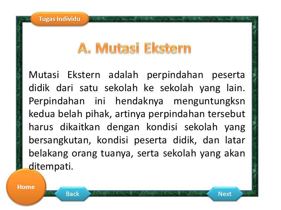 Tugas Individu Home Back Next Mutasi Ekstern adalah perpindahan peserta didik dari satu sekolah ke sekolah yang lain. Perpindahan ini hendaknya mengun