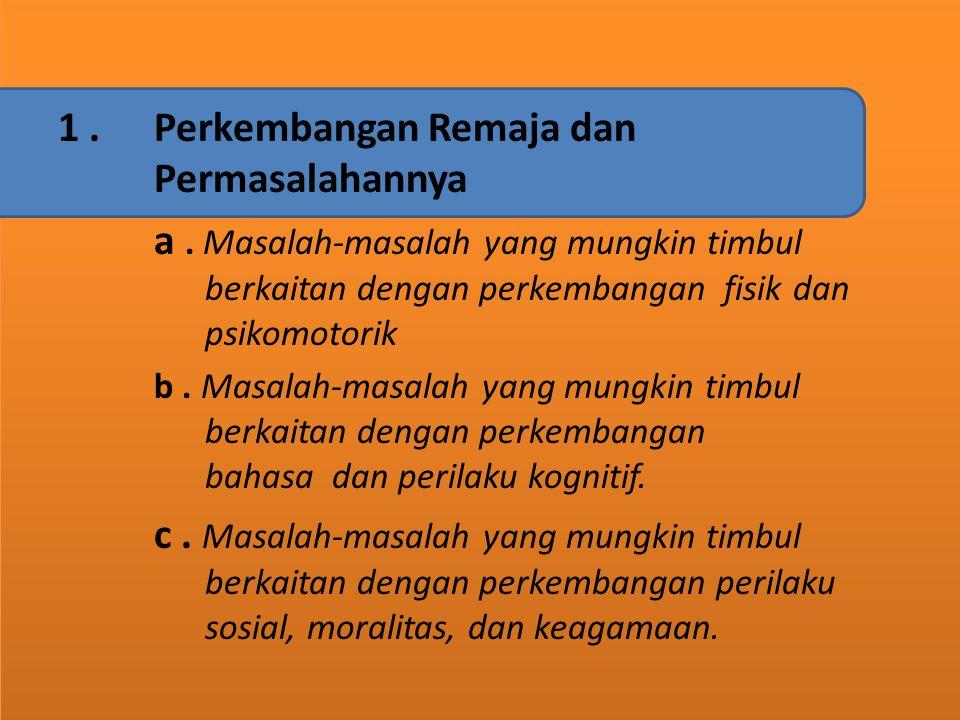 A. KAJIAN TEORITIS 1.Perkembangan Remaja dan Permasalahannya a. Masalah-masalah yang mungkin timbul berkaitan dengan perkembangan fisik dan psikomotor