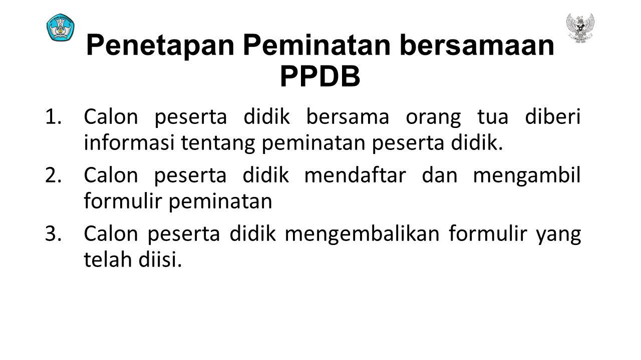 Penetapan Peminatan bersamaan PPDB 1.Calon peserta didik bersama orang tua diberi informasi tentang peminatan peserta didik. 2.Calon peserta didik men
